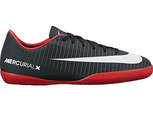 Nike Jr. Mercurial Vapor XI IC Indoor Soccer Shoe (Sz. 4Y) Black, White, Red (Nike Mercurial Jr Grip)