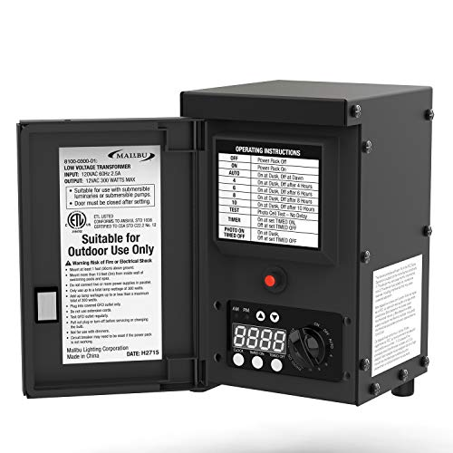 LED Malibu 300 watt Outdoor Transformer with Digital Timer and Ground Shield