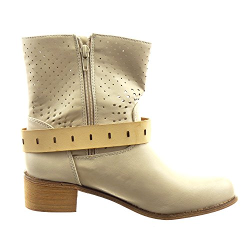 Sopily - Scarpe da Moda Stivaletti - Scarponcini cavalier alla caviglia donna perforato fibbia Tacco a blocco 4 CM - Beige