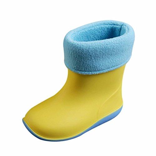 RegenSchuhe Stiefel Jamicy® Winter Herbst Daly Waterproof Kind fester Gummi warmes Säuglings Baby Regenstiefel Kinderregen Schuhe Gelb