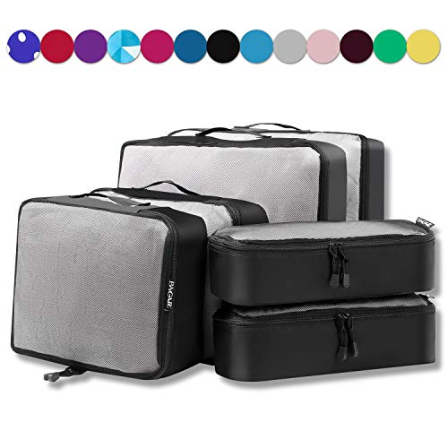6 Set Packing Cubes,3 Various Sizes Travel Luggage Packing Organizers (Black net) ()