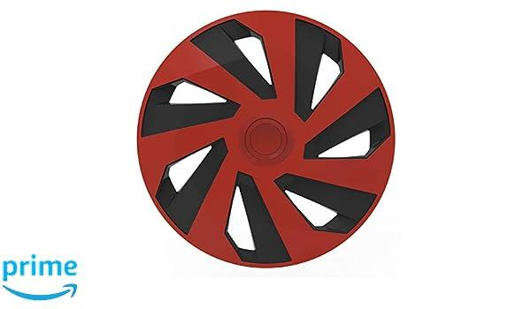 VERSACO VECTORRB14 - Juego de 4 tapacubos DE 35,5 cm, Ajuste Universal, Color Rojo y Negro: Amazon.es: Coche y moto