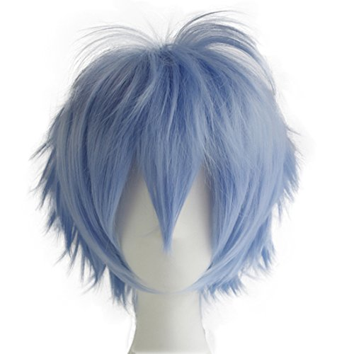 Alacos Anime Wig Short Layered Light Blue Anime Cosplay Hair Wig+ Wig Cap