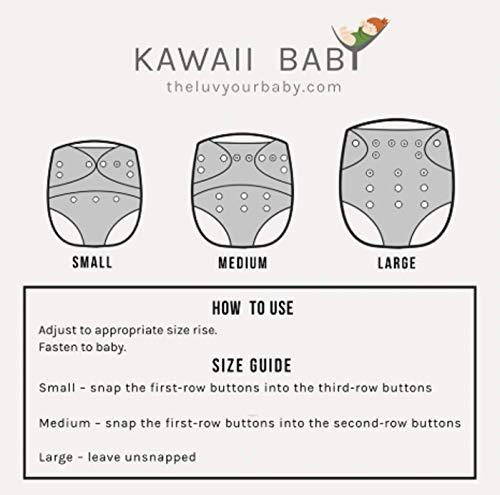 Kawaii Baby Super Value Pack 12 Reusable Cloth Diapers+12 Bamboo Inserts + 6 Free Bamboo Inserts for Baby boy and Girl for Your Little Toddlers Super Comfortable and Soft by Kawaii Baby (Image #2)