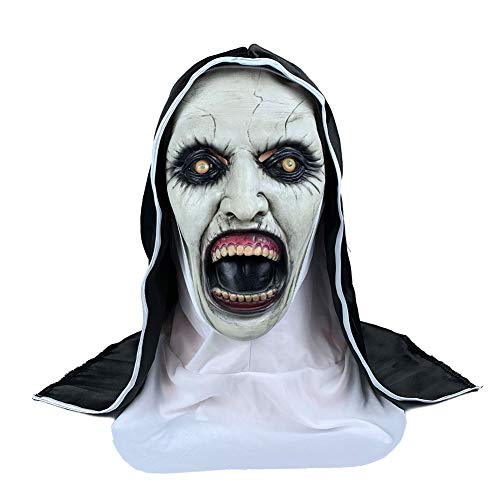 Shuohu Halloween Scary Mask,Spooky Latex She Ghost Nun Mouth Costume Party Prank Prop 2