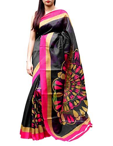 GiftPiper Cotton Silk Printed Saree (Black & Pink)