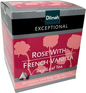 (Dilmah Exceptional Rose with French Vanilla Black Tea Leaf 1.41oz 1 Box - 20 Bags Count)