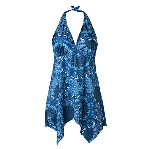 (GUTTEAR Puls Size Sommer Swimsuit, Women Tankini Sets with Boy Shorts Swimwear Hight Waist Two Piece Swimsuits Blue S/M/L/XL/XXL/XXXL/XXXXL/XXXXXXL)