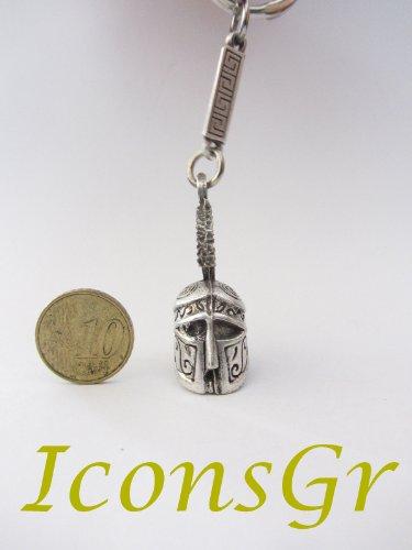 Ancient Greek Zamac Keyring with Athenian Helmet - Silver Color 1 (Athenian Key)