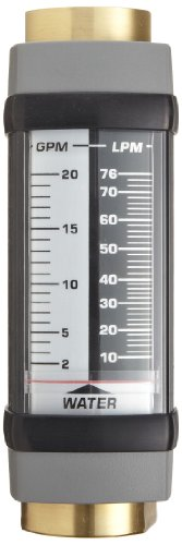 (Hedland H705B-010 Flowmeter, Brass, For Use With Water, 1 - 10 gpm Flow Range, 3/4