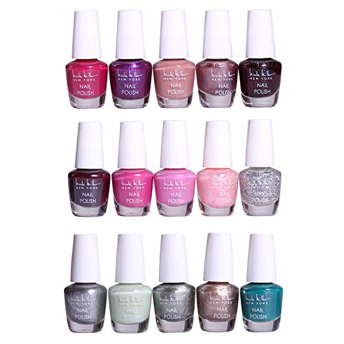 (Nicole Miller Mini Nail Polish Set / Floral Collection /15 Metallic and Trendy Colors)