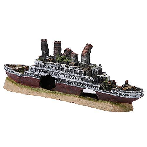 Aquarium Shipwreck Decorations Resin Titanic Lost Wrecked Boat Ship Sunken Ship Decorations Aquarium Landscaping Decoration