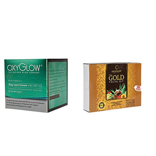 Oxyglow Golden Glow Radiance Day Care Cream SPF 20, 50g with Gold Facial Kit, 73g