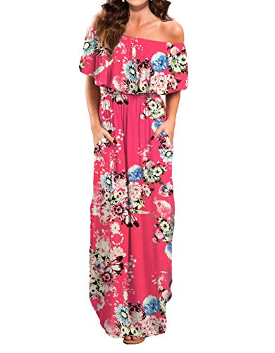 VERABENDI Women's Summer Off Shoulder Loose Plain Floral Maxi Dress Print Casual Long Dresses with Pockets ()