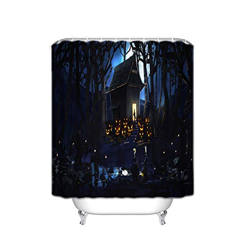 FANNEE Halloween Horror Orange Pumpkin Evil Smile Brown House Zigzag Branch Moon Road Hotel Quality Polyester Shower Curtain, Comfortable and Durable Shower Curtain, Waterproof and Mildew - 72