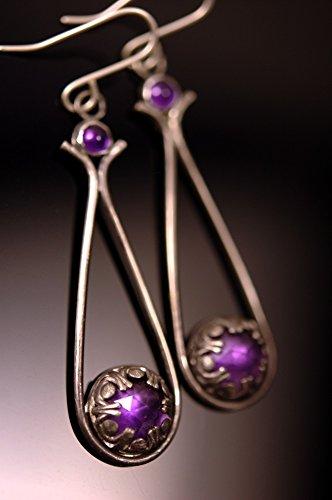 (Amethyst Earrings in Oxidized Sterling Silver - purple earrings - amethyst earrings - amethyst jewelry - teardrop earrings - ready to ship)