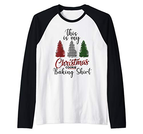 This is My Christmas Cookie Baking Shirt Xmas Tree Gift Raglan Baseball Tee (Cookies Christmas Tree)