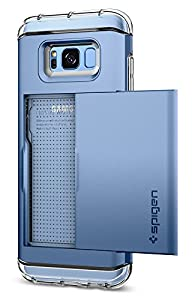 Spigen Crystal Wallet Galaxy S8 Plus Case with Slim Dual Layer Wallet Design and Card Slot Holder for Galaxy S8 Plus (2017) - Blue Coral