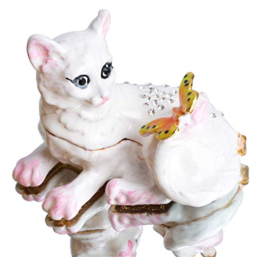 - Waltz&F Vintage Style Jewelry Organizer Holder White cat Trinket Small Box Hinged Trinket Box Hand-Painted Animal Figurine Collectible