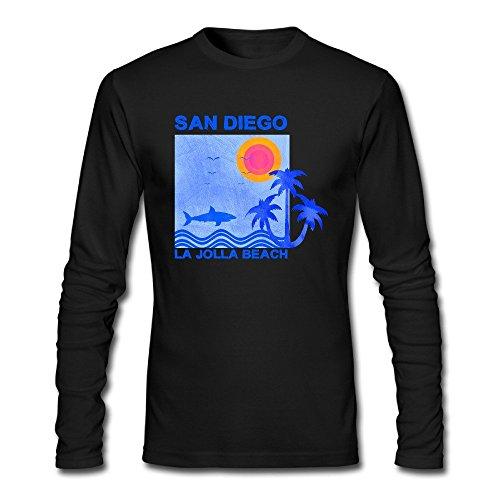 DiFeiFuShi Men's Surf and Surfing In LA Jolla Beach San Diego Cotton Comfort Long-Sleeve T-Shirt Crew-Neck