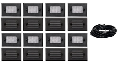 8 Pack of Malibu 8301-2402-01 Half Brick Deck Step Light w/ 2 Lenses ea, 7 Watt, Black Finish + 75 ft landscape wire NO TRANSFORMER INCLUDED. BY MALIBU DISTRIBUTION by Malibu