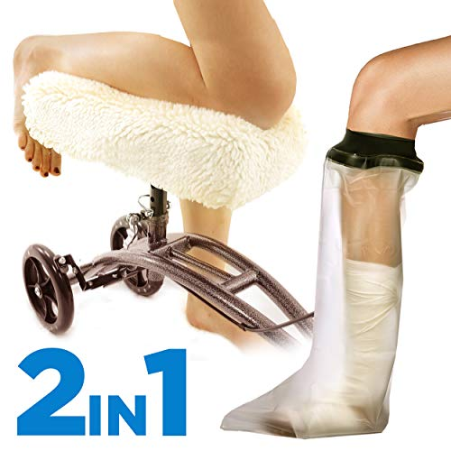 - Colux Knee Walker Pad Cover + Watertight Cast and Bandage Protector | Plush, Synthetic, Faux Sheepskin Scooter washable Cushion for Knee Roller & adult foot Protection in shower