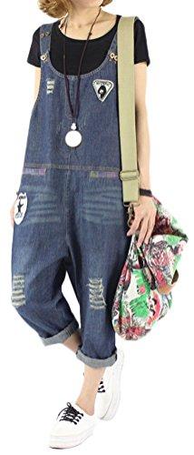 Soojun Women's Loose Fit Pattern Denim Bib Overalls Blue 2
