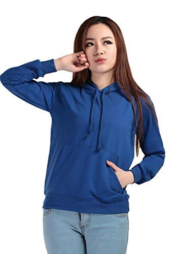 Abbigliamento Unisex Hoodie Elegante Sweatshirts Felpe Tasche Giovane Moda Felpa Autunno Streetwear Ragazza nbsp; Chic Rotondo Lunga Anteriori Manica Collo Blu Con Coulisse Cappuccio prwqp1
