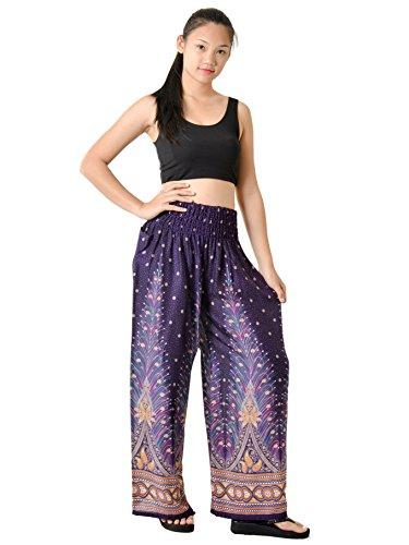 Orient Trail Women's Hippie Bohemian Tribal Design Yoga Wide Leg Harem Pants X-Large Peacock Purple