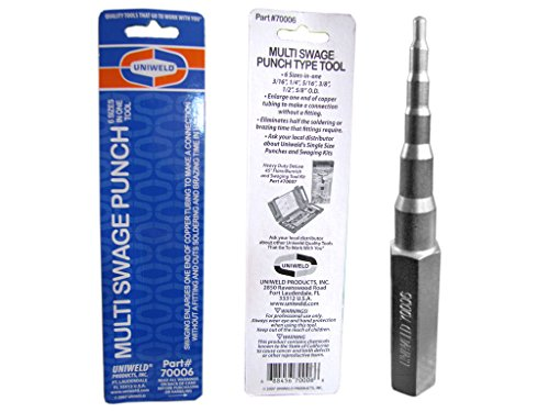 Swaging Punch (Uniweld 70006 Multi Swage 6-in-1 Punch for 3/16-Inch, 1/4-Inch, 5/16-Inch, 3/8-Inch, 1/2-Inch and 5/8-Inch OD Tubing)