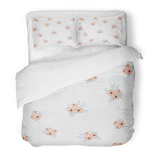 - SanChic Duvet Cover Set Feathers Small Flowers Antique Roses in Folk Bohemian Fabrics Floral Boho Chic Decorative Bedding Set Pillow Sham Twin Size