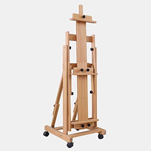 ビーチウッドイーゼル|木製スケッチアートボード|水平および垂直多目的| 4輪スケッチ絵画ディスプレイスタンド|調節可能なスタジオアーティストイーゼル|複数のサイズ ++ (色 : Medium-48X53X148-252CM)