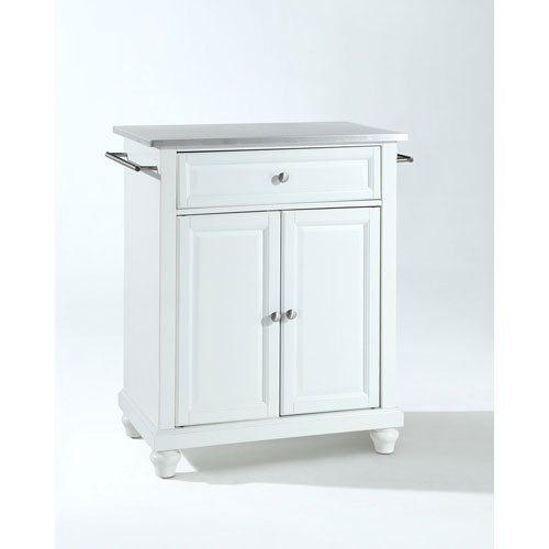 251 First Selby Stainless Steel Top Portable Kitchen Island in White Finish
