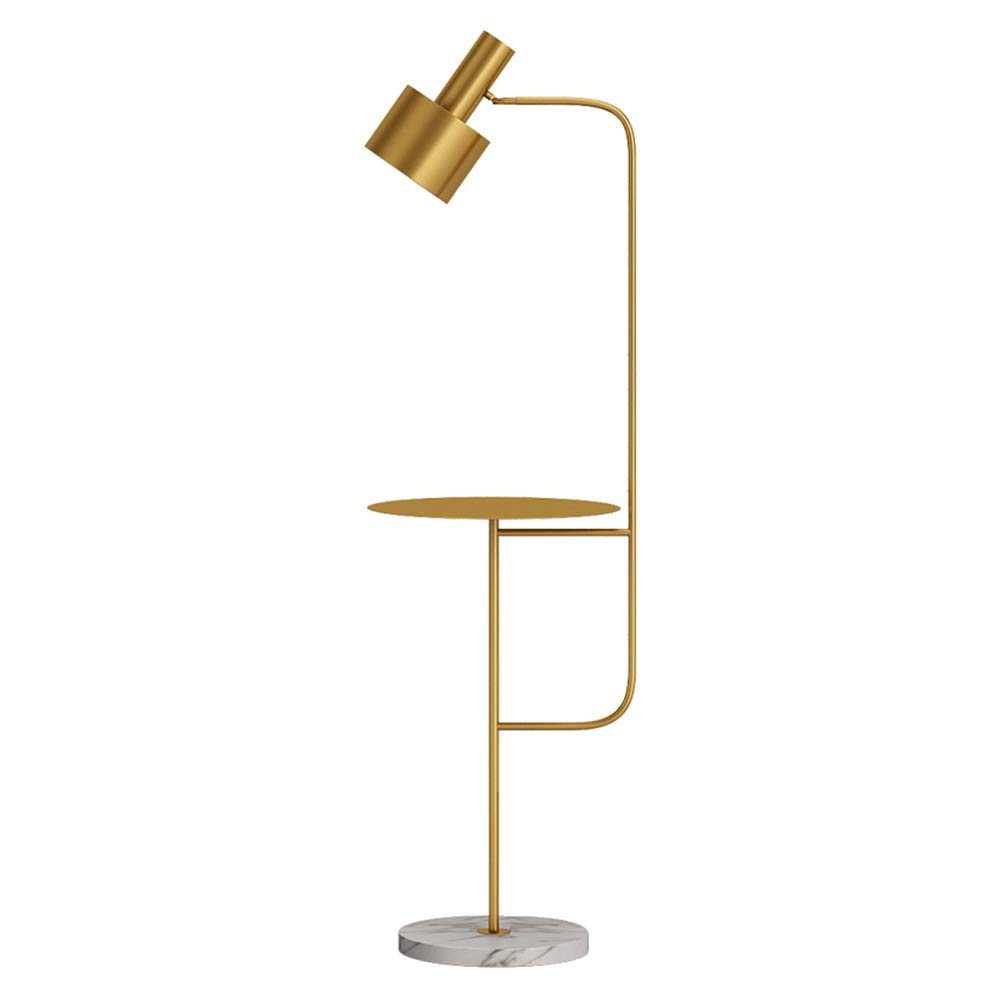 Hsyile Lighting KU300217 Contemporary Modern Creative Floor Lamp with a Table,Suitable for Living Room,Den,Office,Bedroom – E26 Bulb – Brushed Brass Finish