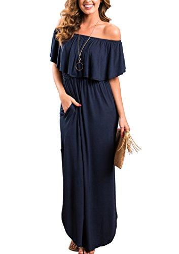 (Sidefeel Women Off Shoulder Maxi Jersey Dress Small Navy)