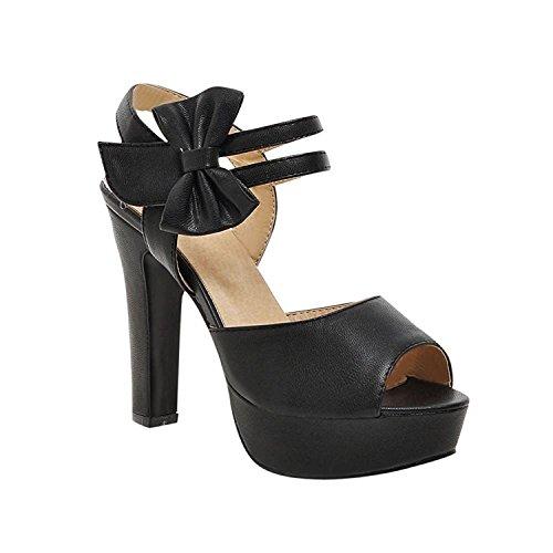 Ckerfox Women's Barbie Princess Hook-And-Loop Lolita Elegance Platform Peep Toe Dress Sandals Black8 B(M) (Dillards Robes)