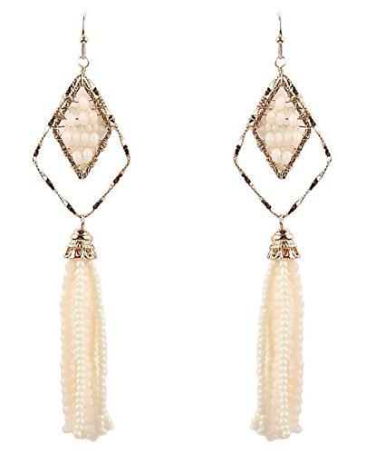 Women's Geometric Glass Bead Dangle Tassel Fashion Pierced Earrings, Ivory/Gold-Tone -