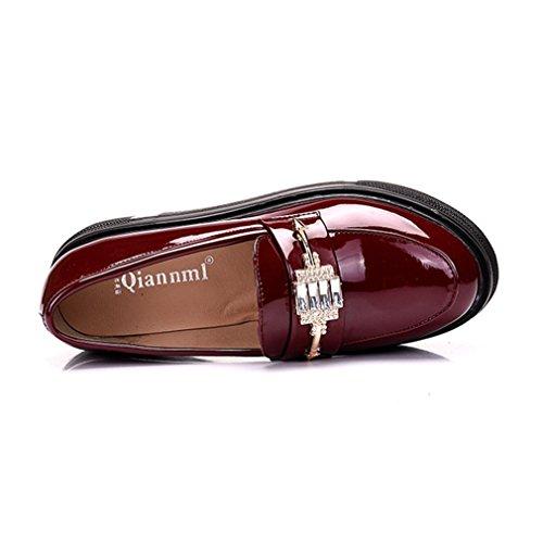 Rouge Femme Cuir Chaussure Gothique Plateforme Enfiler à Simple de wOp8Ot4nfq