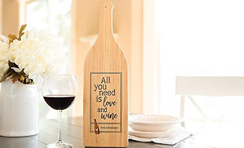 Personalized Engraved Cutting Board with Handle Housewarming and Wedding Gift for Kitchen (16.75 x 5 Bamboo Wine Bottle Shaped, Johnson Design)