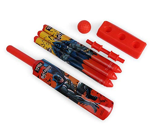 Batman Mini Cricket Set with 1 Plastic Bat and Ball, 3 Wickets, Base and Bail