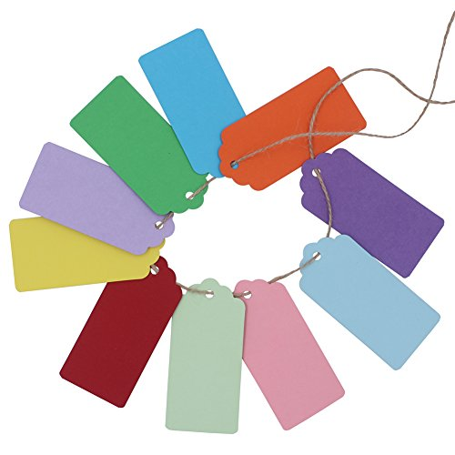 Zicome 200Pcs Colorful Kraft Paper Gift Tags for Christmas Presents Wedding Party Favors, 200 Feet Natural Jute Twine Included
