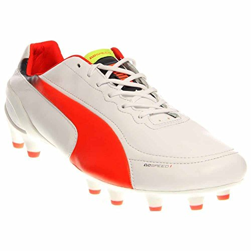 PUMA Men's Evospeed 1.2 L Firm Ground Soccer Shoe,White/Fluorescent Peach/Ombre Blue,11 M US