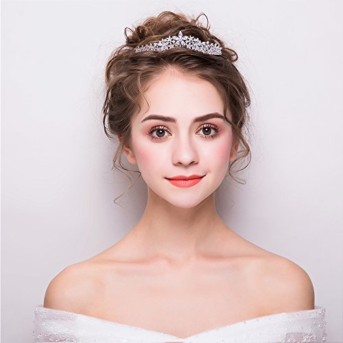 Cubic Zirconia CZ Wedding Bride Crown Tiara Headband Hair Jewelry Accessories HG0056