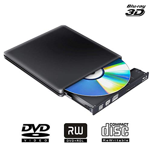PiAEK External Blu Ray DVD Drive Writer 3D 4K,Bluray Player Opitical DVD CD Burner Recorder PC Windows Compatible for Mac OS iMac (Black)