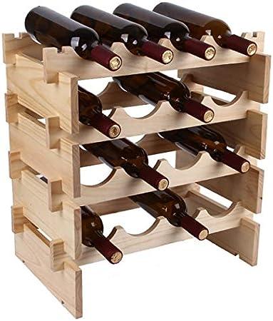 LTLWSH Botelleros Apilables para Vino De Madera Maciza con Capacidad para 4 Botellas,Mueble Vinoteca Manejable para Botellas De Vino y Otras Bebidas,4layers