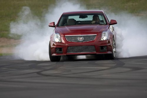 Cadillac CTS-V (2009) Car Art Poster Print on 10 mil Archival Satin Paper Red Front Burn Out Motion View 36