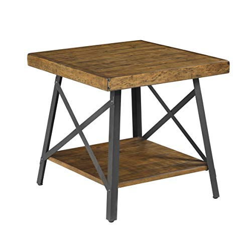 Emerald Home Chandler Rustic Wood End Table with Solid Wood Top, Metal Base, And Open Storage Shelf