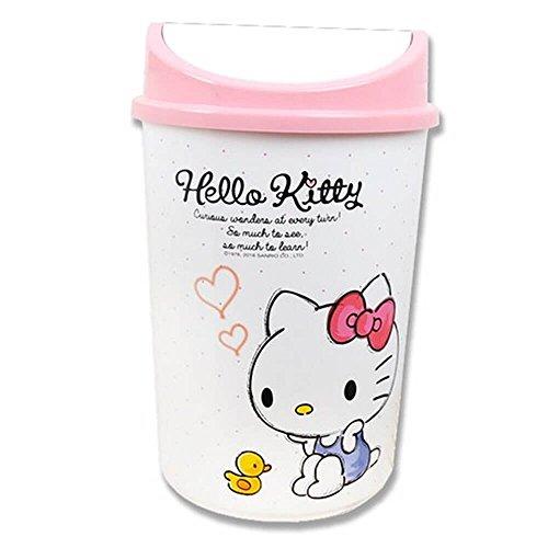 Hello Kitty Letter Dust Bin Swing Type Wastebasket Trash Can 13'' by Shabath