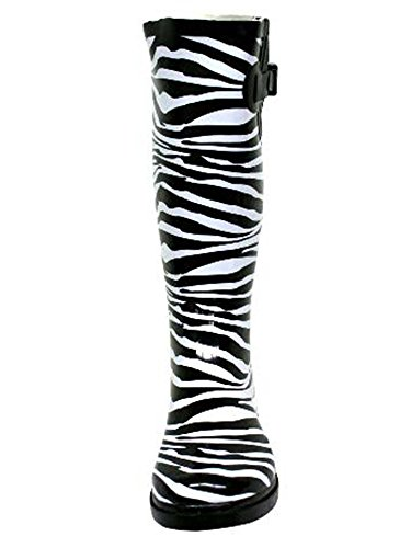 Rubber Print White amp; Black Boots Rain Animal Women T4xgq6f