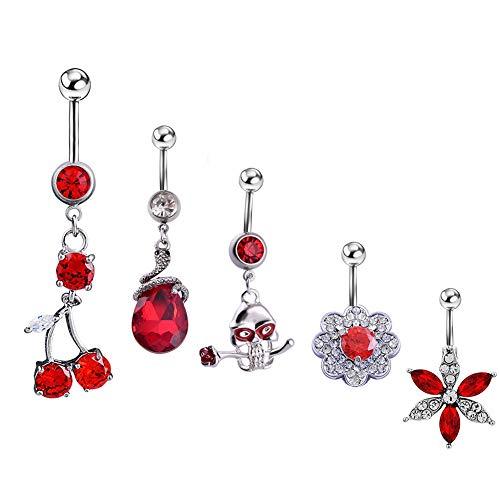 Funbase 5Pcs Red Cherry Gem Rhinstone Dangle Belly Ring Charming Navel Ring Set for Women